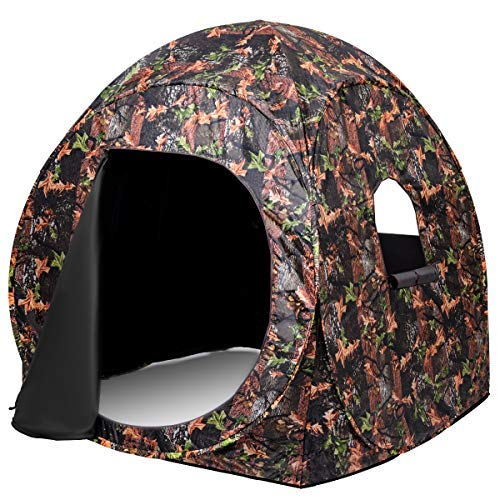 - Tangkula Hunting Tent Portable Hunting Blind Pop Up Ground Blind 2-3 People Camo Weather Resistant with Backpack Hunting Enclosure