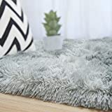 Rostyle Luxury Fluffy Area Rugs Shag Indoor Nursery Rug for Boys Girls Extra Soft Fuzzy Kids Bedroom Carpets Plush Living Room Home Decorate Area Rugs, 5 ft x 8 ft, Light Grey