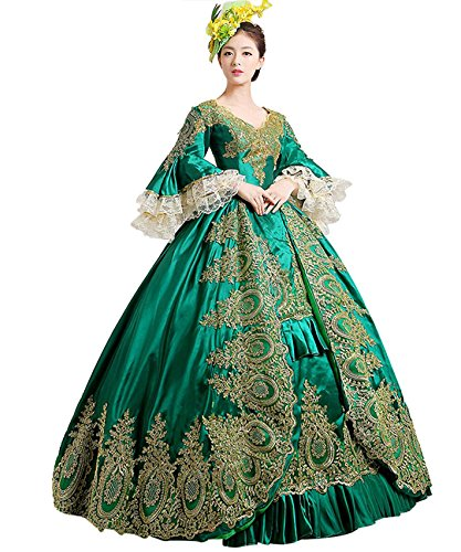 (ROLECOS Womens Royal Vintage Medieval Dresses Lady Satin Gothic Victorian Dress Fancy Masquerade Dress Green)