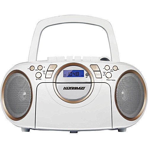 Koramzi Portable CD Boombox Full Range Stereo Sound System w/ Top-Loading MP3 CD Player, Cassette Player and Recorder, AM/FM Radio, USB Input, Headphone & AUX Jack w/ Remote Control- CD705CWH(White) (Boombox Remote compare prices)