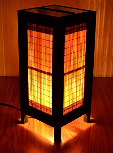 Jakapan's Shop Decorative Lamp Thai Vintage Handmade Asian Oriental Bedside New Bamboo Blind Eco Table Light Floor Wood Paper Lamp Shades Home Bedroom Garden Decoration Modern Design by Jakapan's Shop