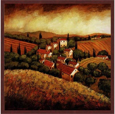 Poster Palooza Framed Tuscan Hillside Village- 24x24 Inches - Art Print (Walnut Brown ()