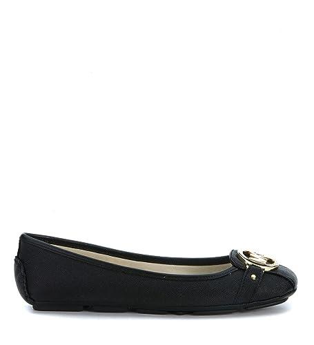 c43155c2f29 Bailarinas Michael Kors Fulton Moc de Piel Saffiano Negra  Amazon.es   Zapatos y complementos