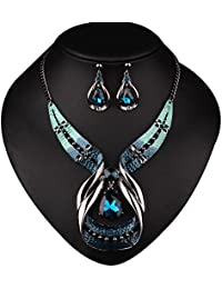 Crystal Choker Chunky Statement Pendant Bib Necklace...