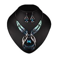 Crystal Choker Chunky Statement Pendant Bib Necklace Earring Jewelry Set