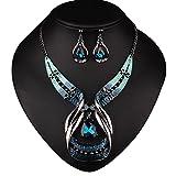 #7: Diamondo Crystal Choker Chunky Statement Pendant Bib Necklace Earring Jewelry Set
