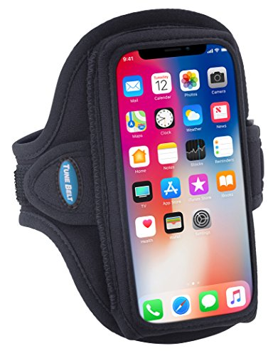 Armband Compatible with iPhone X Xs, Galaxy S9 S8 S7 S6 and iPhone 8 7 6s 6 with slim case - For Running & Working Out - Sweat-Resistant [Black]