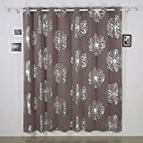 Deconovo Foil Print Flower Design Thermal Insulated Window Blackout Curtain For Bedroom 100×84-inch,Khaki