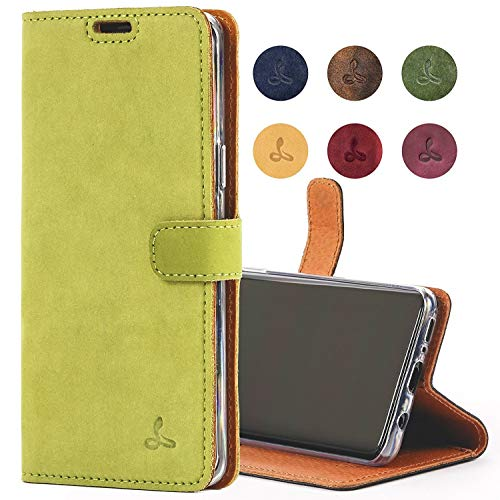 SnakeHive Samsung Galaxy S9 Case, Genuine Leather Wallet with Viewing Stand and Card Slots, Flip Cover Gift Boxed and Handmade in Europe for Samsung Galaxy S9 - (Moss Green)