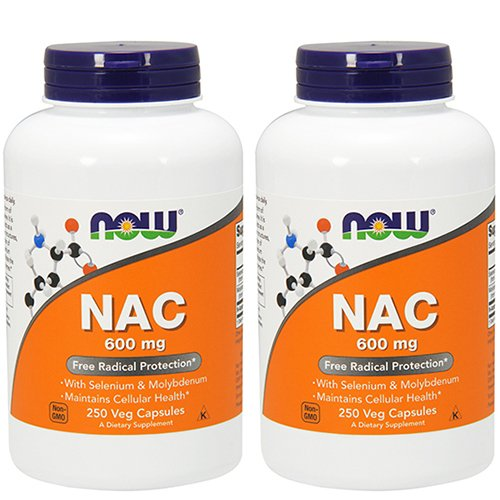 NOW Foods Nac-Acetyl Cysteine 600mg, 250 Vcaps (500 (250X2)) by Now Foods