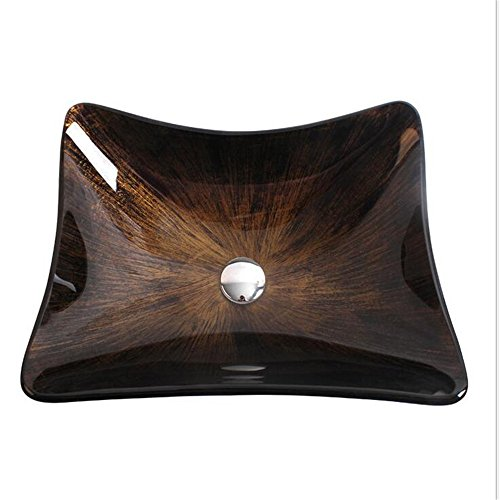 ARAYACY Tempered Glass Wash Basin/Creative Retro Square Corner Art Basin Above Counter Basin Basin (single Pot) -