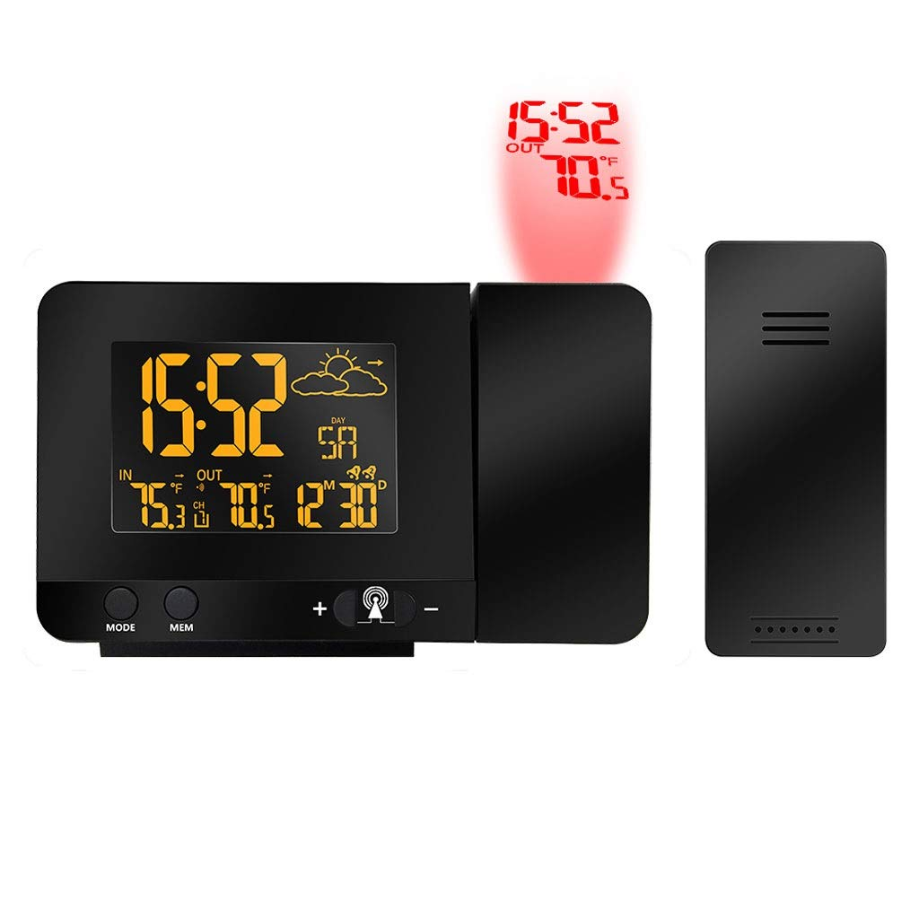 Radio Contraolled Projection Alarm Clock Weather Station with Temperature Sensor Colorful LCD Display Weather Forecast by ZWS