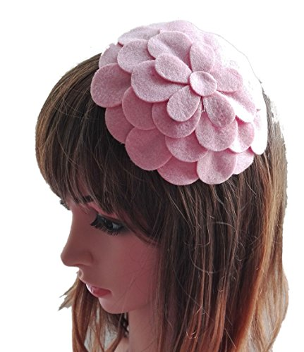 [Fascinator Hair Clip Head Hoop Flower Pillbox Wool Hat Cocktail Party Wedding Pink] (1920s Flapper Hairstyles)