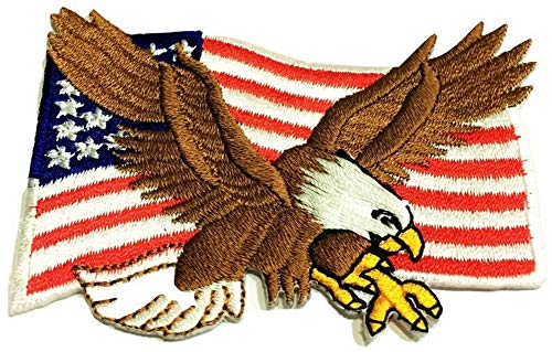 - Patch Portal Bald Eagle American Flag 2x3 Inch US Patriotic Patches Emblem Bird Wings United States of America Animal Wildlife Embroidered Iron On USA Embroidery Applique Logo for Jackets Shirt Jeans