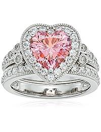 Platinum-Plated Sterling Silver Swarovski Zirconia Heart Antique Ring