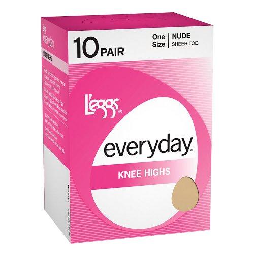 Leggs Knee Highs - L'eggs Everyday Knee Highs 10 Pair - OneSize, Jet Black