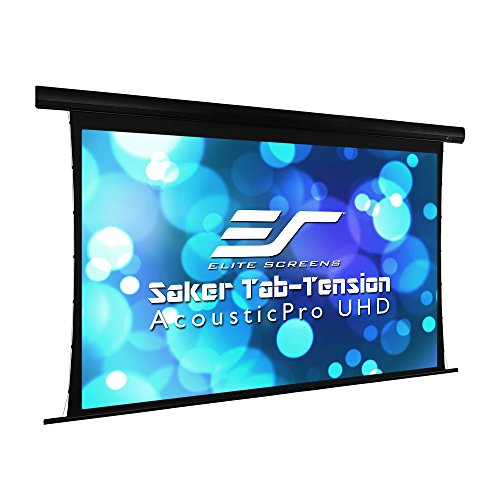 "Elite Screens Saker Tab-Tension AcousticPro UHD Series, 120"" Diagonal 16:9, 4K/8K Ultra HD Electric Sound Transparent Perforated Weave Drop Down Front Projector Screen, SKT120UH-E20-AUHD"