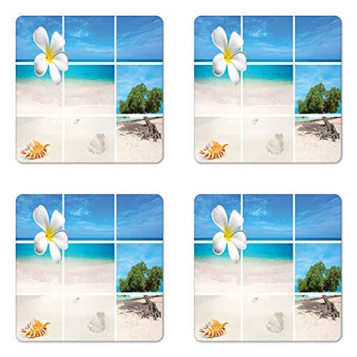 Themed Beach Coaster Photo - Lunarable Beach Coaster Set of Four, Collection of Seaside Pictures from The Caribbean Island Aruba Tree Flower Seashell, Square Hardboard Gloss Coasters for Drinks, Beige Blue