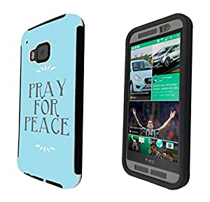 1092 - Cool Fun Pray For Peace Design htc One M8 Full Body CASE With Build in Screen Protector Rubber Defender Shockproof Heavy Duty Builders Protective Cover