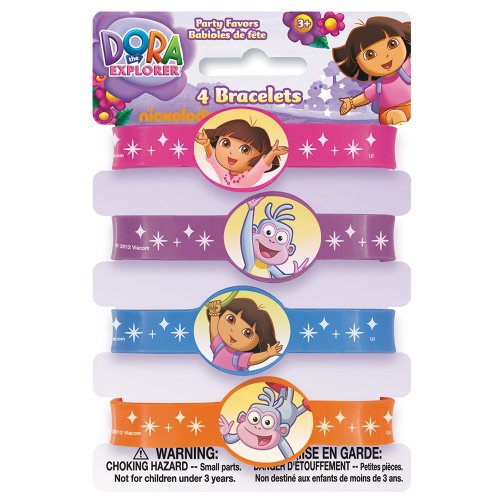 Dora the Explorer Silicone Wristband Party Favors, 4ct