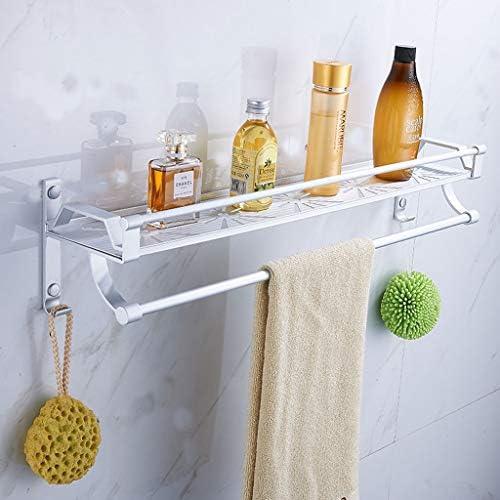 スペースアルミ多層浴室ラックフックパンチ壁掛けタオル掛けラックフックフレーム (色 : Silver, サイズ : 40cm)