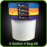 BUBBLEBAGDUDE Bubble Bags 5 Gallon 4 Hash Bag Set - Herbal Ice Bubble Bag Essence Extractor Kit - Comes with Pressing Screen and Storage Bag - Waterproof (4)