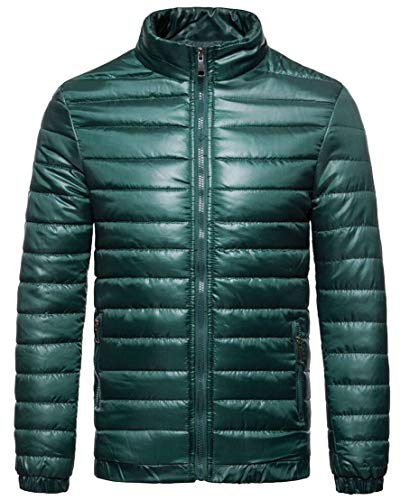 Winter Blackish Collar Stand Green Outerwears Men's TTYLLMAO Overcoat Down Jackets Padded Zipper vqx0WnRBUw