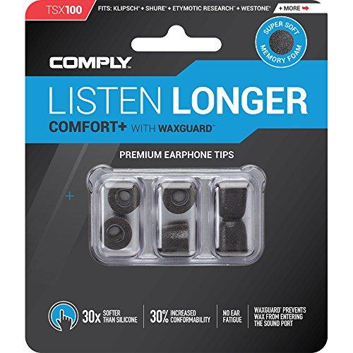 Comply Foam Premium Earphone Tips - Comfort Plus Tsx-100 (Black, 3 Pair, Medium)
