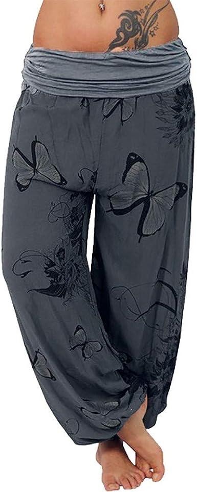 Lazapa Trousers for Women Elastic Waist Butterfly Print Trousers Casual Wide Leg Pants Loose Pocket Button Harem Pants