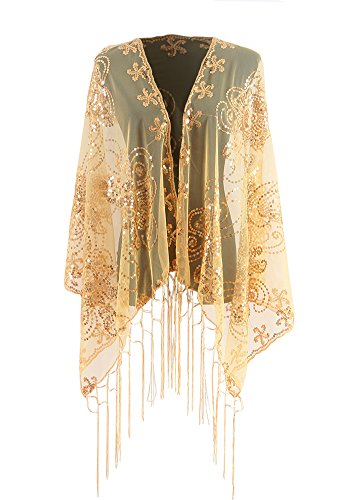 Shawls and Wraps for Evening Dresses, Wedding Dressy Sparkly Scarfs for Women (46gold Sequins)