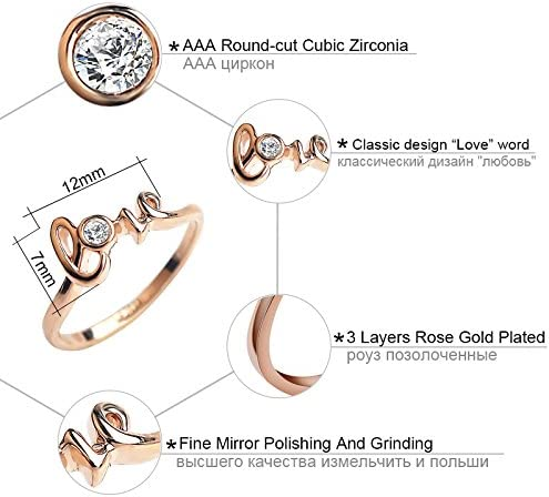 Bellystar Women Love Letter Wedding AAA Cubic Zirconia Rose Gold Crystals Female Anel Gift Ring