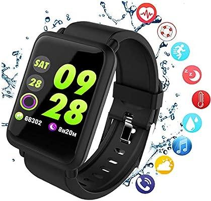 PHIPUDS Reloj Inteligente Bluetooth, Pantalla Smartwatch con Monitor de Ritmo cardíaco Pulsera podómetro, Contador de Pasos y Monitor de sueño (Negro)