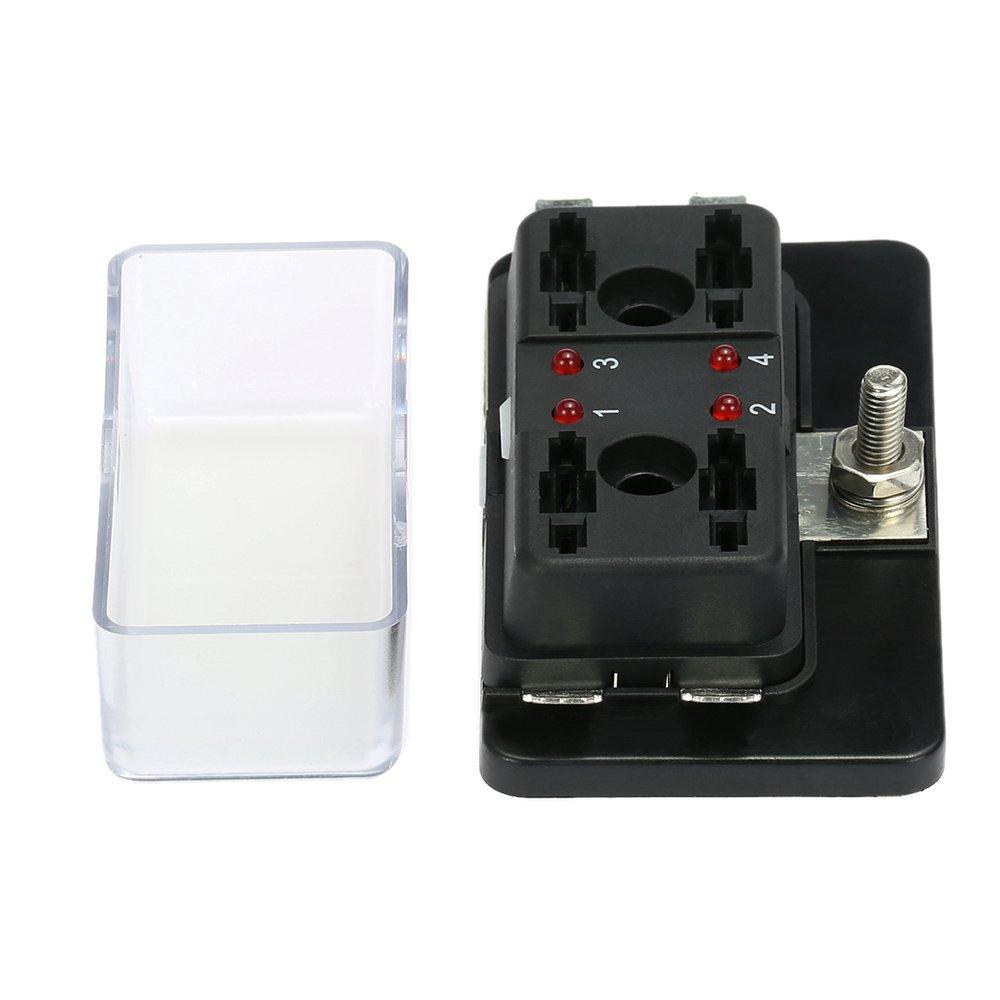scatola porta-fusibili a lama a dieci canali per auto//imbarcazioni con spia LED 12 V-24 V KKmoon
