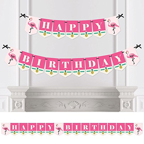 Big Dot of Happiness Pink Flamingo - Party Like a Pineapple - Tropical Summer Birthday Party Bunting Banner - Pink Party Decorations - Happy Birthday