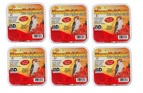 6 Cakes Hot Pepper Pine Tree Farm's Never Melt Suet Cake 12 oz. each by Pine Tree Farms