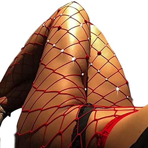 GFsnow Women Seamless Tight Stockings Net Big Cross Fishnet Nylon Large MeshPantyhose Hot Vintage (Big Plaid, Medium) (M, Red pants Love diamond)