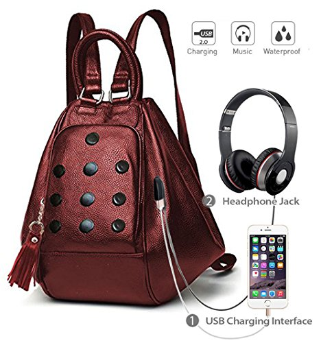 Port Cherry Stylish Especial Handbag Deal Aux And Way Shoulder Use With Backpack Girls 3 Bag Music Designer For Usb Or Charging qfxRwZAx