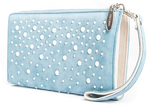 Agata - Passione Bags - Borsa pochette da donna in pelle a mano color azzurro con mezze perle e Swarovski - Made in Italy