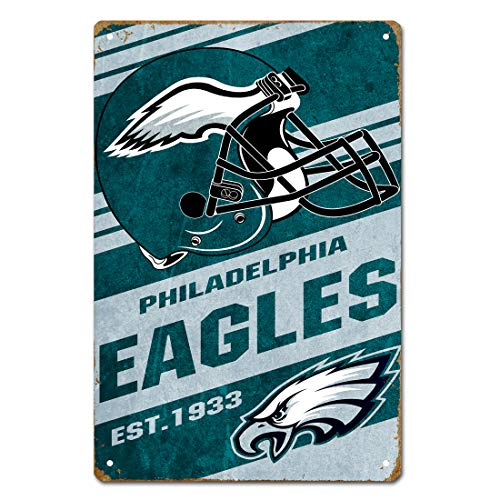 MamaTina Cool Vintage Philadelphia Eagles American Football Team Design Metal Tin Signs for Home Wall Decor Size 12x8 Inches