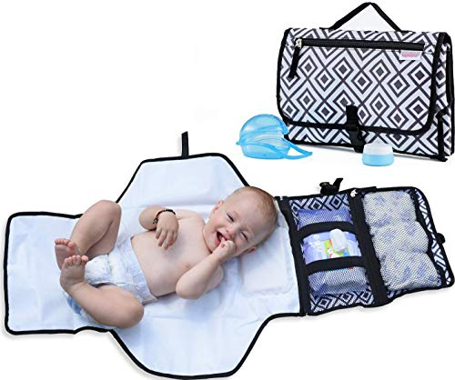 Portable Changing Pad for Diaper Bag w/ Head Pillow, Travel Changing Pad & Portable Changing Station | Plus Binky Case & Baby Cream Jar | Infants & Newborns | Grey Black Diaper Changing Pad Portable