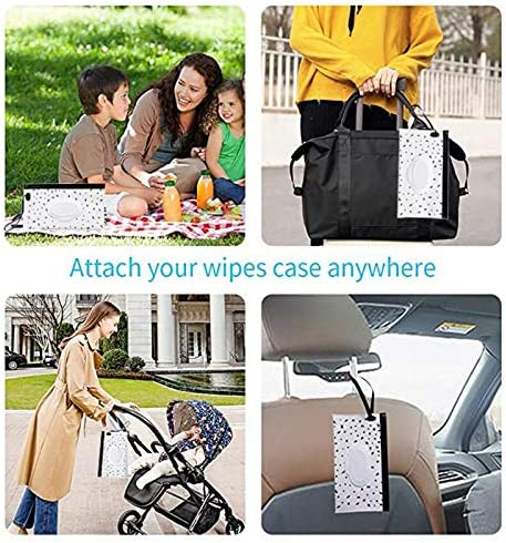 PQZATX 6 Pcs Portable Wet Wipe Pouch Reusable Baby Wipes Dispenser Eco Friendly Handy Travel Diaper Wipes Carrying Case Holder
