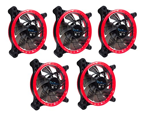 Ventilador APEVIA 512L-CRD 120mm Silent Dual Rings Red LED F