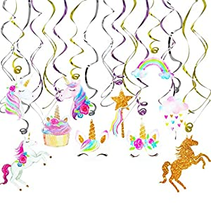 Tanlling 30 PCS Unicorn Party Supplies Decoration Hanging Swirls for Kids Unicorn Theme Birthday Party Favors Girls Gift