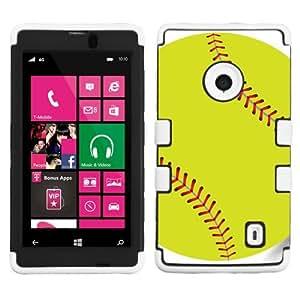 One Tough Shield ? Hybrid-Layer Phone Case (Black/White) for Nokia Lumia 521 - (Softball Green)
