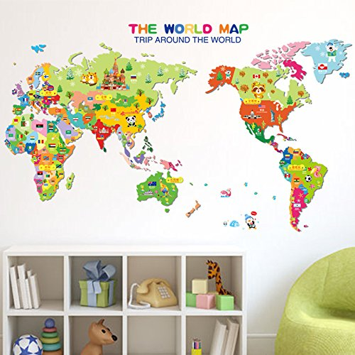 - Let'S Diy Colorful Animal World Map Wall Stickers Living Room Home Decoration PVC Decal Mural Art DIY Kids Room Wall Art