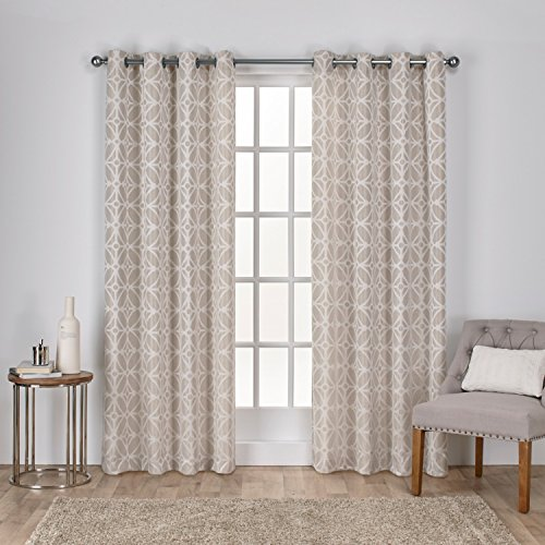 Jacquard Window - Exclusive Home Cressy Geometric Textured Jacquard Window Curtain Panel Pair with Grommet Top, 54x84, Linen, 2 Piece