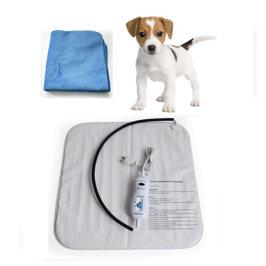 C Pet Carbon Fiber Heating Pad, Dog Cat Electric Heating Pad Indoor Waterproof Adjustable Warming Mat with Chew Resistant Steel Cord