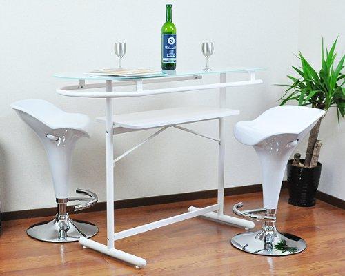 強化ガラスカウンターテーブル×カウンターバーチェア艶ダックデザイン(2脚)3点セット ホワイト(白) B008APCAPA Parent