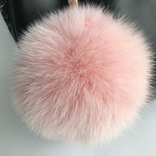 Real Fox Fur Ball Keychain Fur Pompoms Keychain Keyring for Charm Bag Pendant 15cm