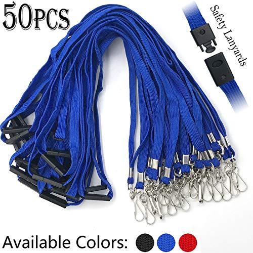 (Lanyards Safety Blue Lanyards Neck Flat Premium Breakaway Badge Lanyard with J-Hook for ID Nametag Badge Holder (Blue, 50 PCS))